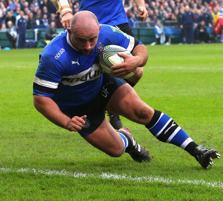 Bath's David Flatman crosses for his first try for the club