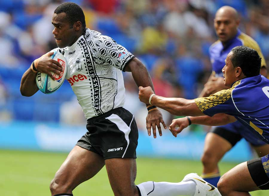 Fiji's Watisoni Votu streaks away against Niue