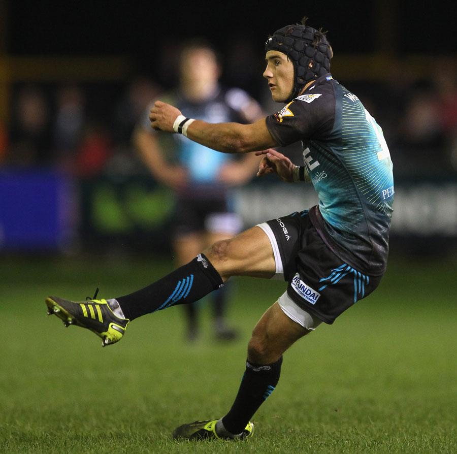 Ospreys fly-half Matthew Morgan kicks a penalty