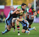 Harlequins' Seb Stegmann is shackled by the Newcastle defence