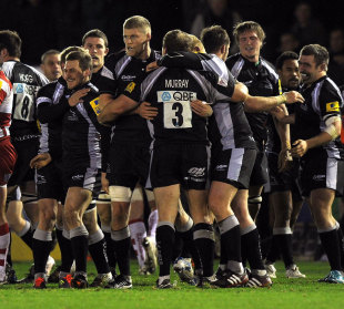 Newcastle Falcons celebrate victory over Gloucester, Newcastle Falcons v Gloucester, Aviva Premiership, Kingston Park, Newcastle, England, December 2, 2011