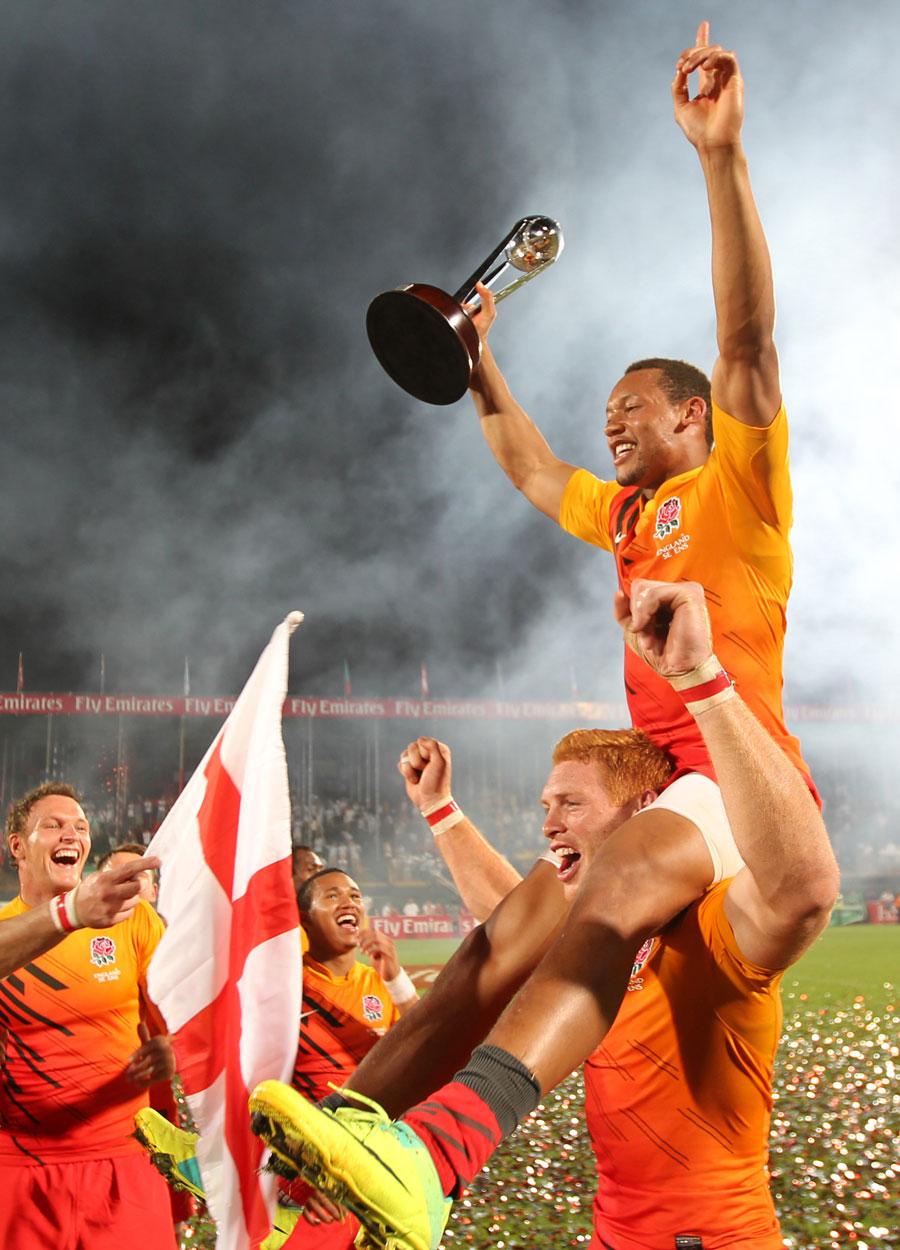 England's Dan Norton celebrates the Dubai Sevens victory