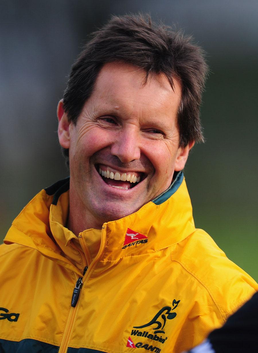 Wallabies coach Robbie Deans raises a smile