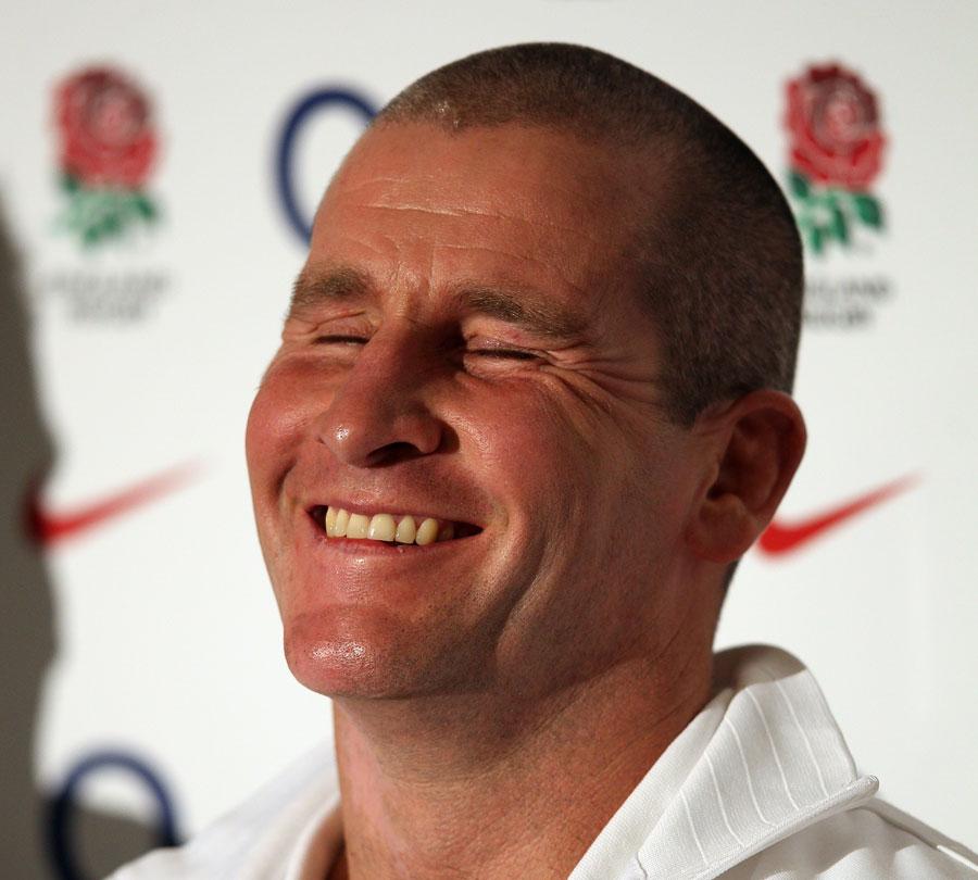 Interim England coach Stuart Lancaster raises a smile