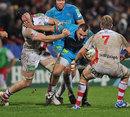 Aironi's Simone Favaro fends off Ulster's Stephen Ferris
