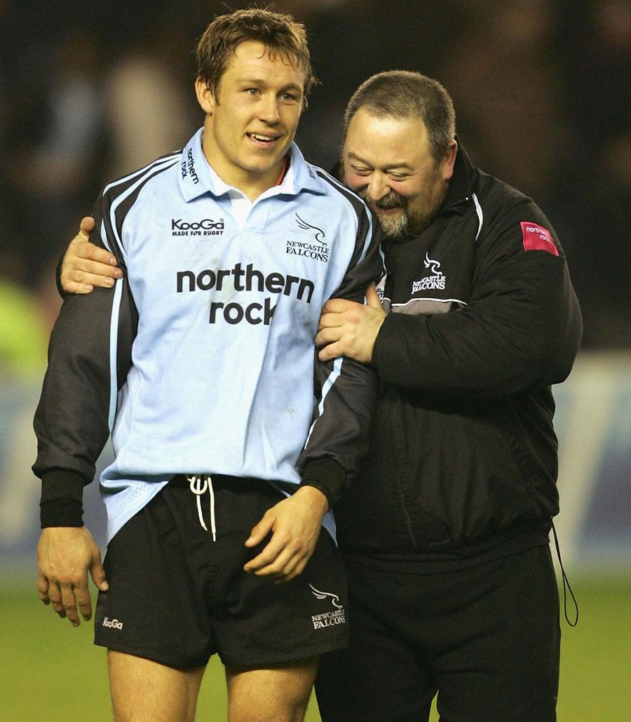 Newcastle fly-half Jonny Wilkinson and fitness coach Steve Black
