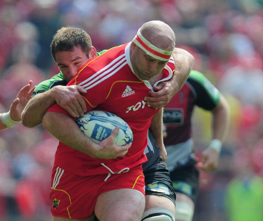 Munster prop John Hayes drives forward