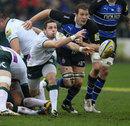 London Irish's Darren Allinson feeds his back line