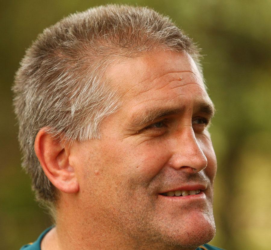 Wallabies assistant coach Scott Johnson talks to media