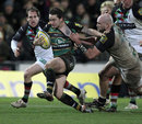 Northampton's Ryan Lamb stretches the Quins defence