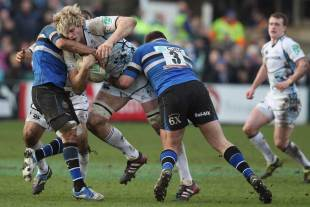 Glasgow lock Richie Gray battles for yards, Bath v Glasgow, Heineken Cup, The Rec, Bath, England, January 21, 2012