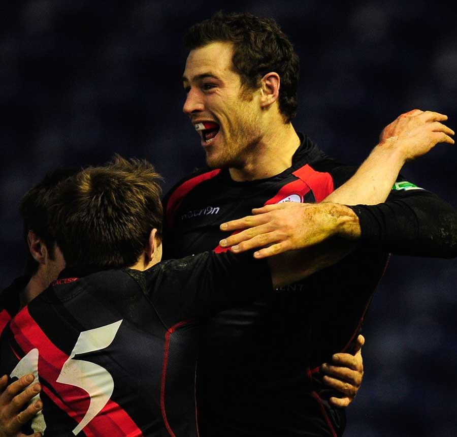 Edinburgh's Tim Visser celebrates their win over London Irish