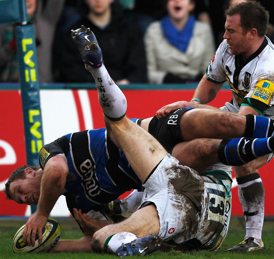 Bath's Ross Batty touches down against Northampton
