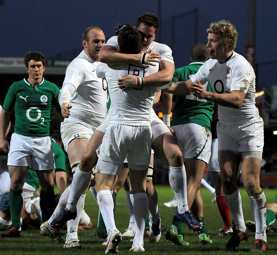 England Saxons scrum-half Ben Spencer is congratulated after his try