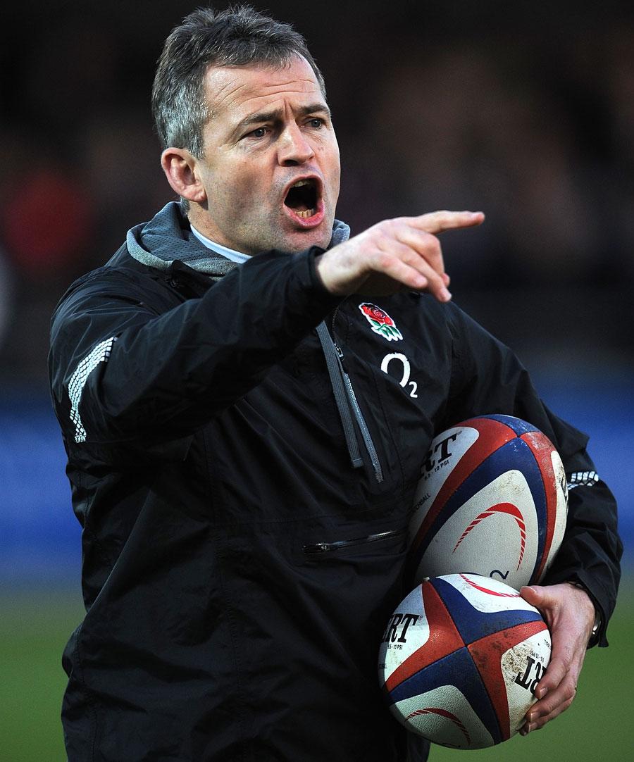 England Saxons coach Jon Callard instructs his players