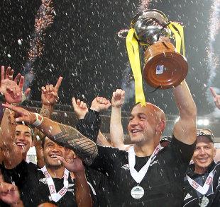 DJ Forbes toasts New Zealand's triumph, Wellington 7s, Westpac Stadium, Wellington, New Zealand, February 4, 2012