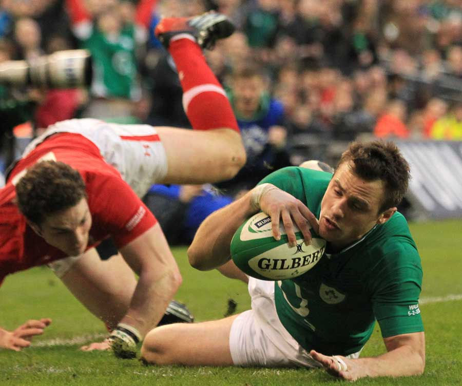 Ireland's Tommy Bowe goes over in the corner