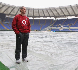 England coach Stuart Lancaster surveys the Stadio Olimpico, England press conference, Stadio Olimpico, Rome, Italy, February 10, 2012
