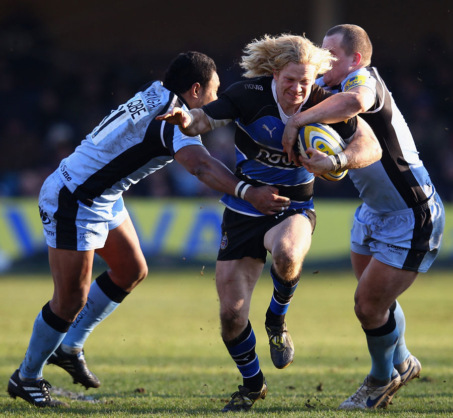 Bath's Tom Biggs tries to break through the Newcastle defence