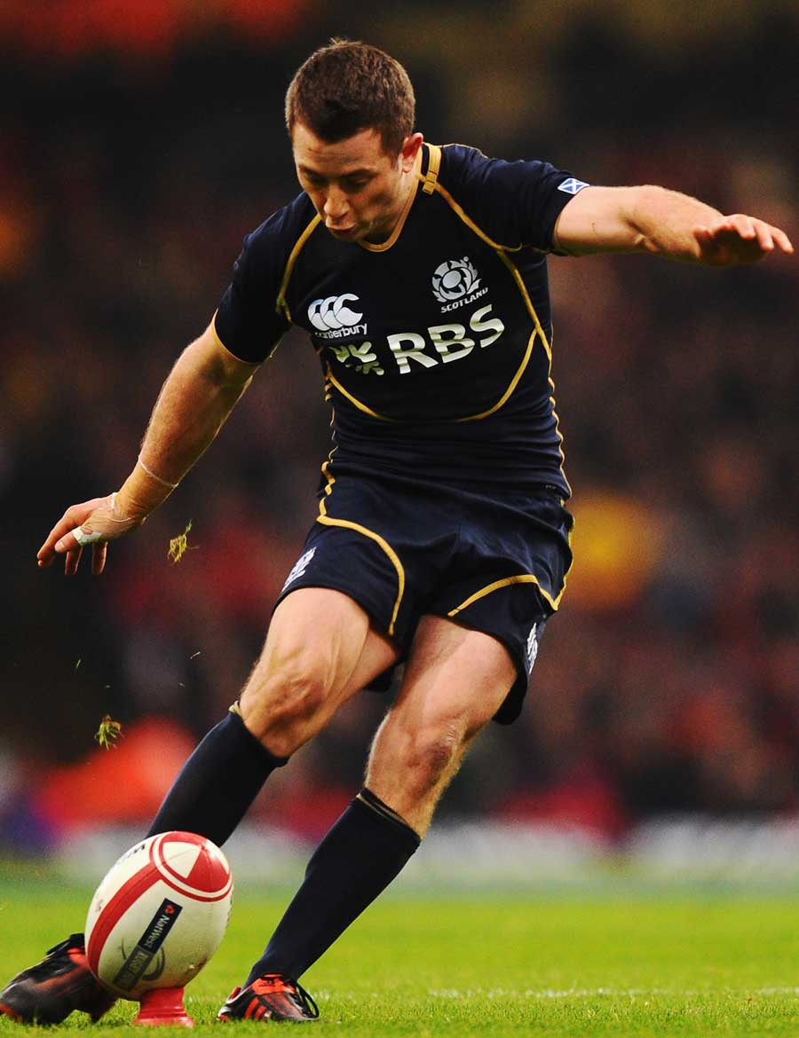 Scotland's Greig Laidlaw goes for the posts