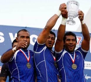 Samoa celebrate taking the Las Vegas Sevens, HSBC Sevens World Series, Sam Boyd Stadium, Las Vegas, United States, February 12, 2012