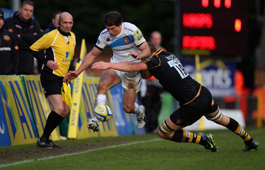 Exeter's Gonzalo Camacho kicks ahead