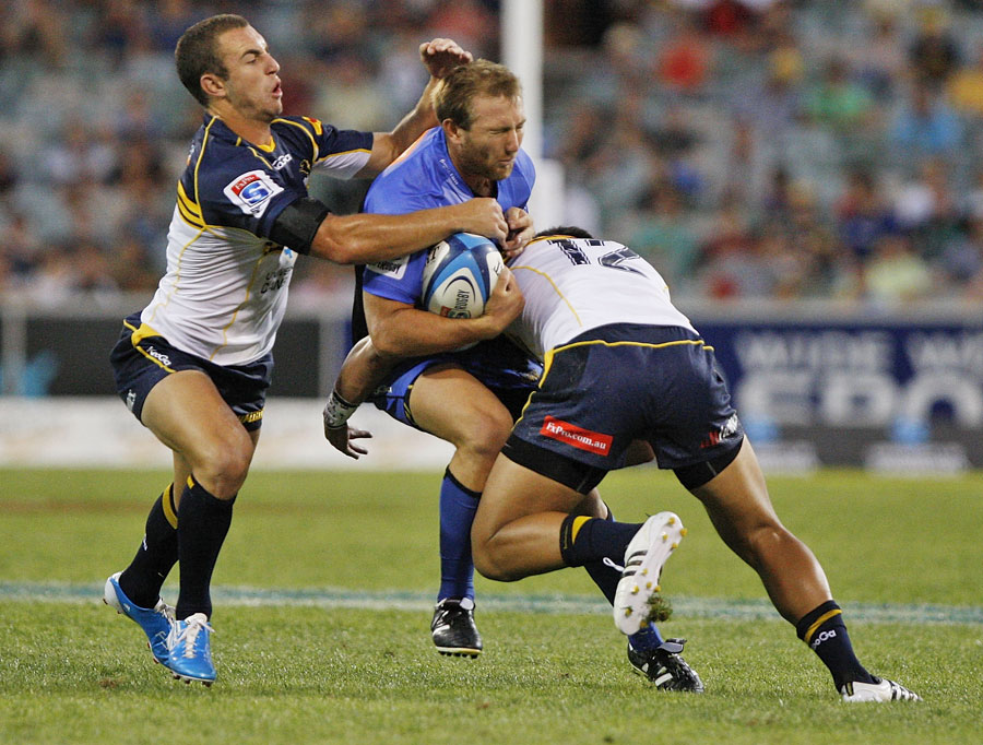Force fly-half James Stannard finds no way through the Brumbies' defence