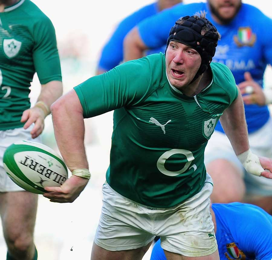 Ireland's Stephen Ferris looks to offload the ball