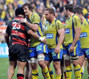 Clermont Auvergne lock Julien Pierre celebrates victory