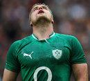 Ireland's Jamie Heaslip watches a kick sail over