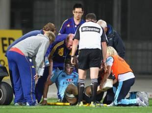 Waratahs flanker Pat McCutcheon receives treatment