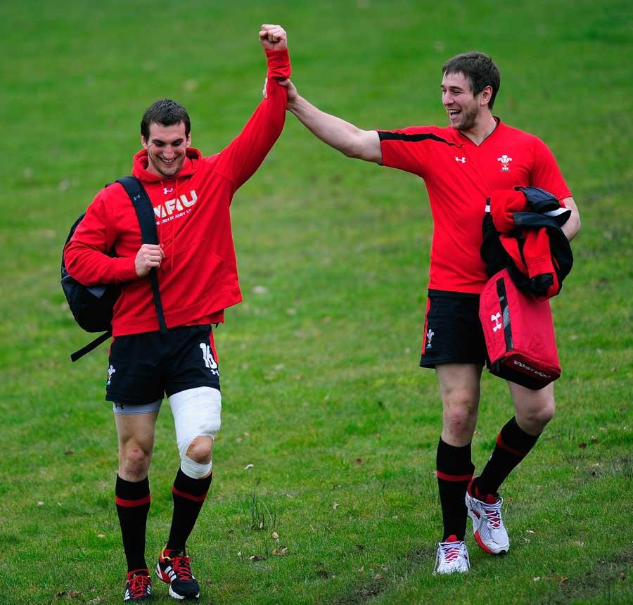 Wales skipper Sam Warburton shares a joke with Ryan Jones