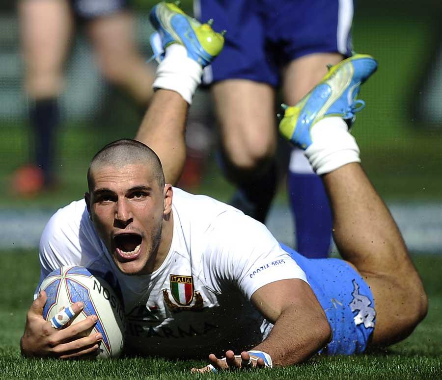 Italy's Giovanbattista Venditti revels in the try-scoring moment