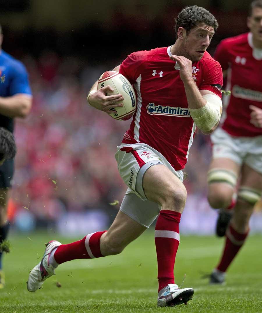 Wales' Alex Cuthbert races away