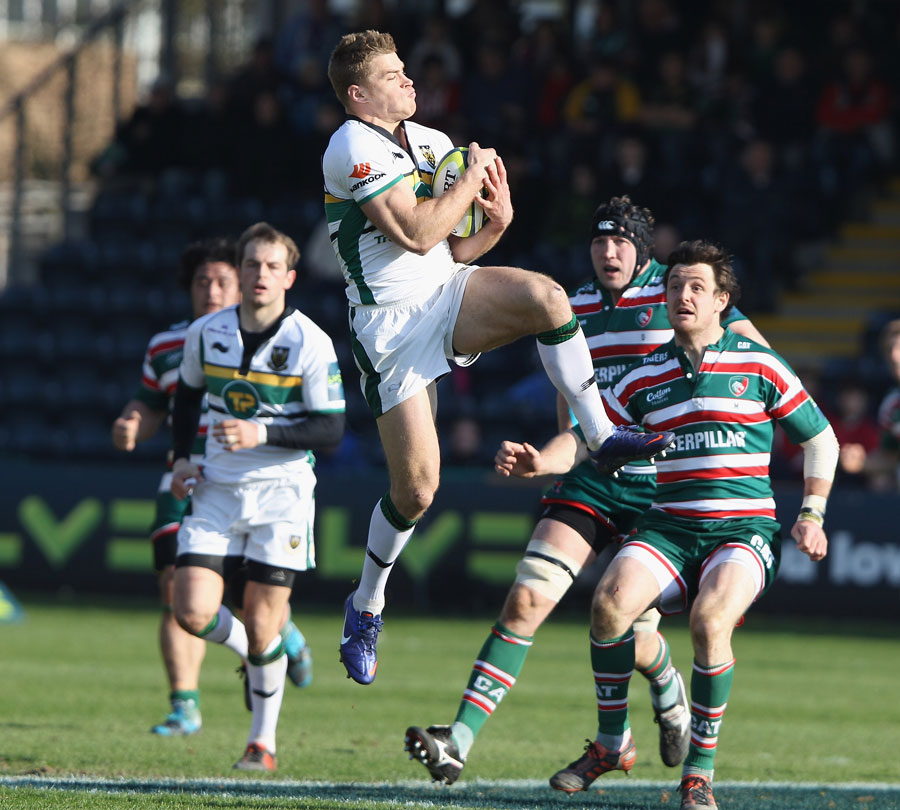 Northampton's Scott Armstrong claims a high ball