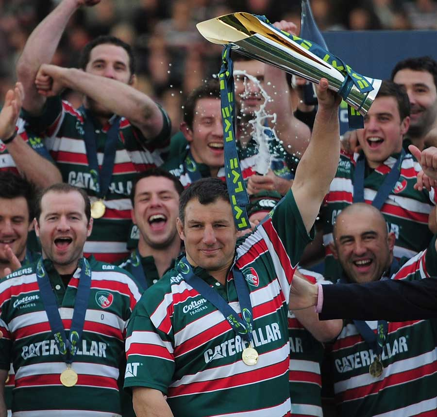 Leicester's Julian White holds aloft the Anglo-Welsh Cup