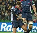 Rebels fly-half Danny Cipriani celebrates a score