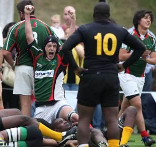 Mexico's Erik Castillo celebrates a try, Mexico v Jamaica, Rugby World Cup 2015 qualifier, La Ibero, Santa Fe, Mexico City, Mexico, March 24, 2012