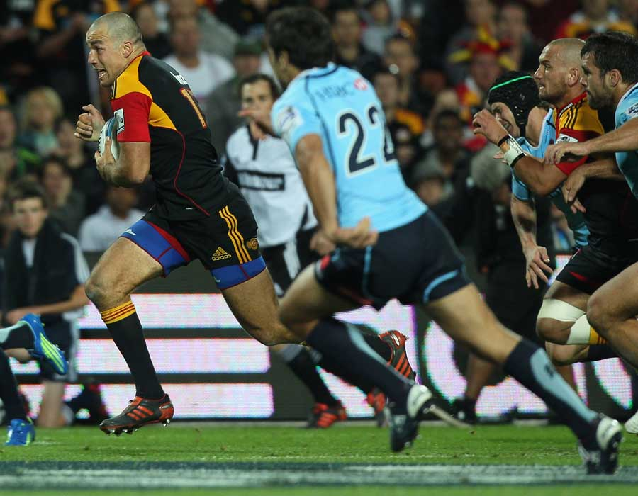 Chiefs centre Richard Kahui accelerates through a gap