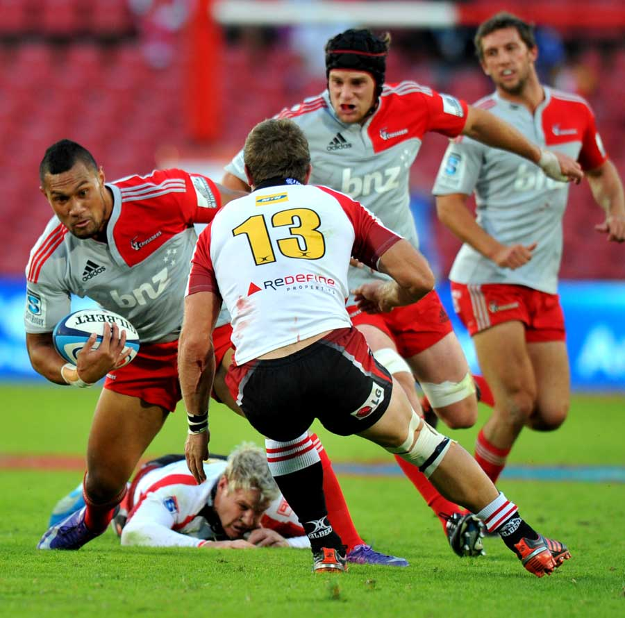 Crusaders centre Robbie Fruean made a dent in the Lions' defence