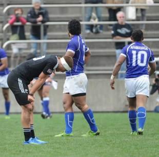 New Zealand's Joe Webber reacts during defeat to Samoa