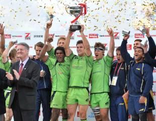 Australia's Ed Jenkins celebrates victory at the Tokyo Sevens, Tokyo Sevens, HSBC Sevens World Series, Tokyo, Japan, April 1, 2012