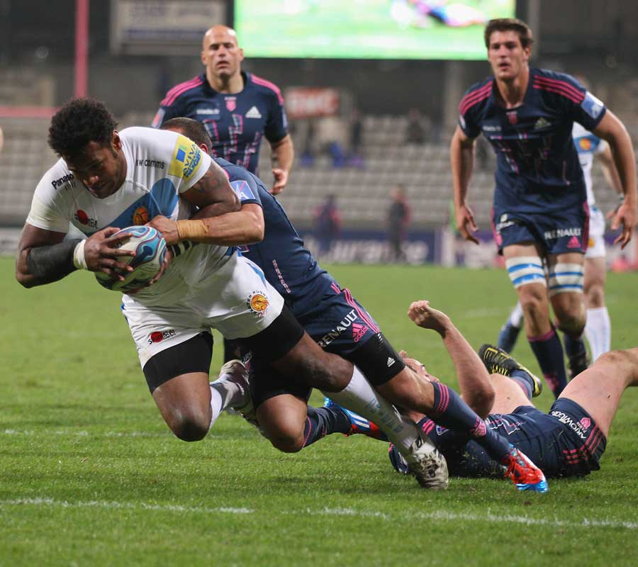 Exeter replacement Sireli Naqelevuki dives over to score