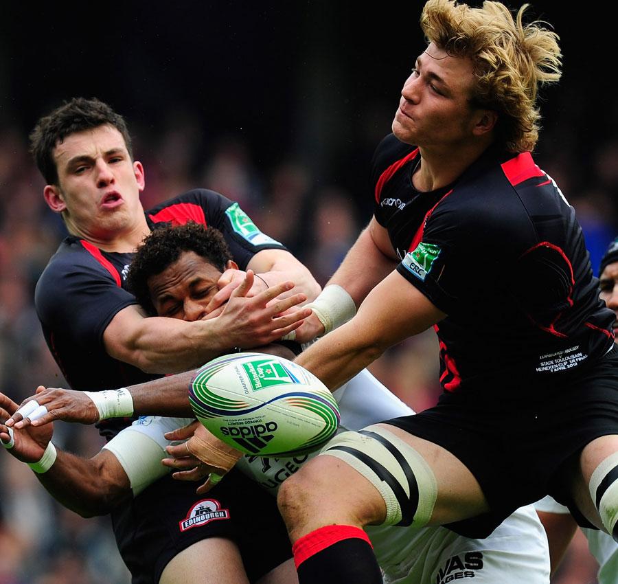 Edinburgh's David Denton and Matt Smith fight for the ball