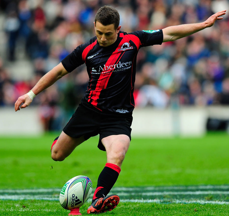 Edinburgh's Greig Laidlaw kicks for goal
