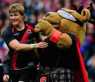 Edinburgh's David Denton celebrates with the mascot, Edinburgh v Toulouse, Heineken Cup, Murrayfield, Scotland, April 7, 2012