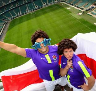 England Sevens' Chris Cracknell and Michaela Staniford show off the new shirt, Twickenham, London, April 18, 2012
