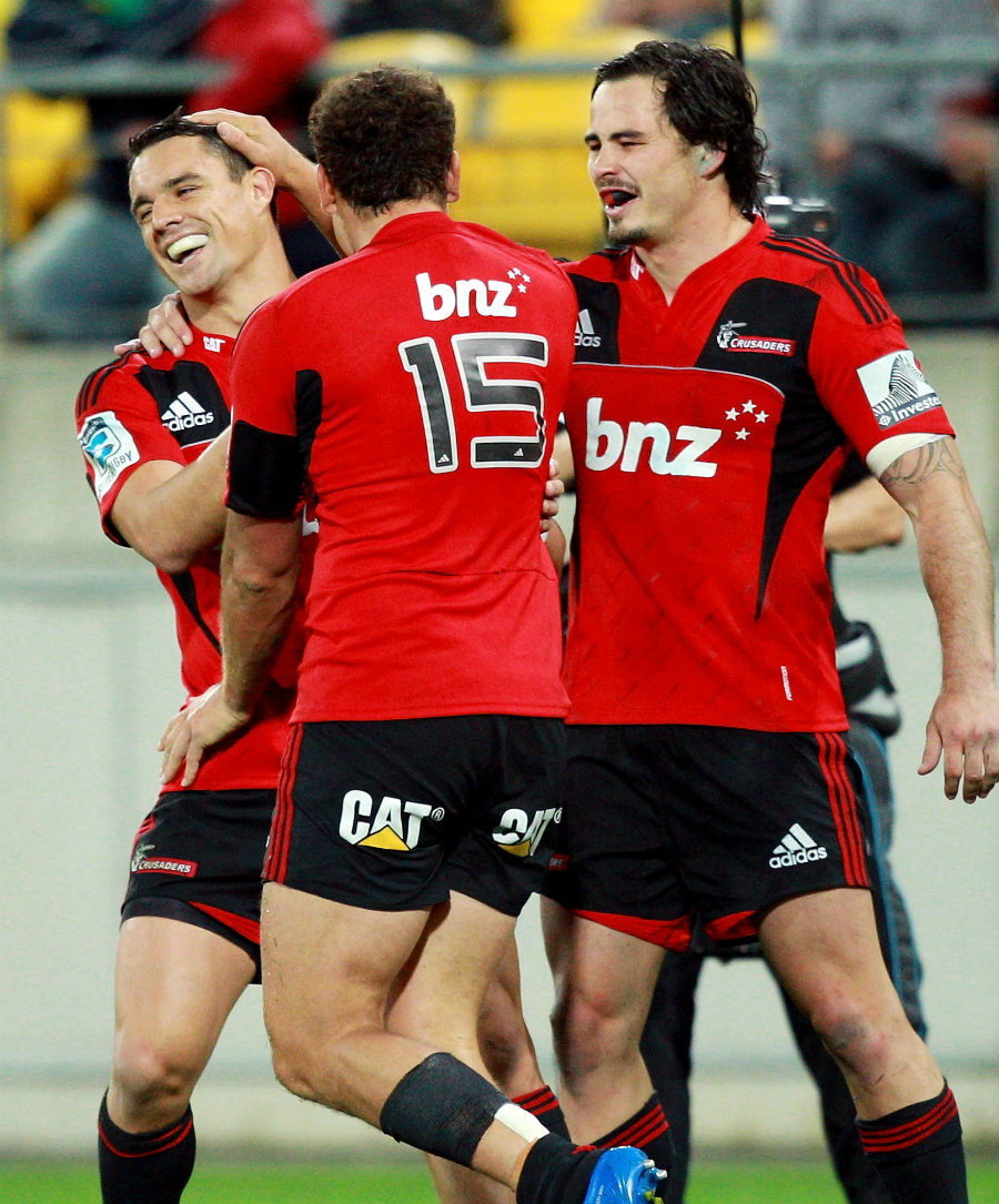 The Crusaders' Dan Carter is congratulated on a try