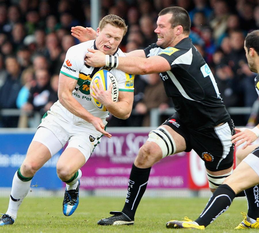 Exeter's Tom Hayes snares Northampton's Chris Ashton