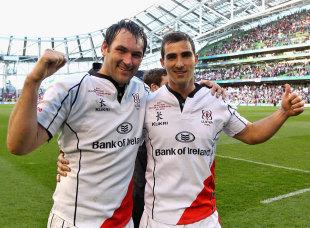 Ulster's Pedrie Wannenburg and Ruan Pienaar celebrate victory